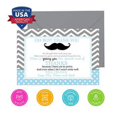 Mustache Baby Shower Thank You Cards (15 Pack) A6 Flat Stationery Set with Envelopes - Oh Boy Little Man - Chevrons and Dots