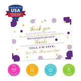 Purple and Gold Baby Postcard Thank You (15 Pack) Eco-Friendly, Cards Only - Girls Little Mermaid Princess - Flat A6 Size - Shower Stationery Notes