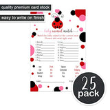 Ladybug Baby Shower Animal Matching Game Pack (25 Cards) Fun Guess the Pair Activity - Sprinkle - Adults - Groups - Kids Birthday – Cute Little Lady Party Supplies - Red, Pink, Black