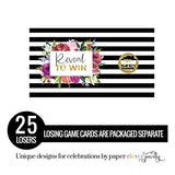 Elegant Stripe and Floral Party Scratch Off Cards (28 Pack) Girls Baby Shower Games, Bridal Shower Activity, Wedding, Diaper Drawing, Door Prize Tickets