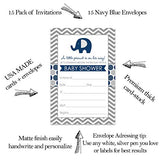 Navy Blue Elephant Baby Shower Invitations (15 Cards) Fill in Blank Invite Set - Cute Little Peanut Party Ideas - Boys Sprinkle - Navy Envelopes Included