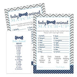 Bow Tie Baby Shower Animal Matching Game Pack (25 Cards) Fun Guess the Pair Activity - Sprinkle - Adults - Groups - Kids Birthday – Little Man Party Supplies - Navy and Gray
