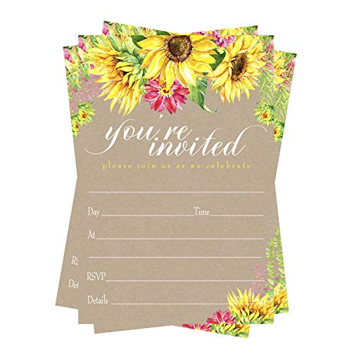 Sunflower Party Invitations (15 Guests) Baby Shower – Rustic Wedding - Engagement - Bridal Shower - Graduation – Rustic Wedding – Any Event – Fill in Blank Style Invite Cards and Envelope Set DIY