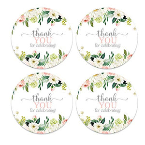 Graceful Floral Stickers (60 Pack) Bridal Shower Favors - Girls Baby Shower Labels - Rustic Greenery Party Supplies - Blush and Peach