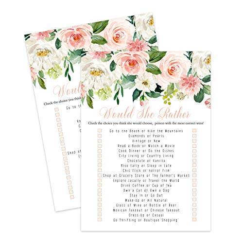 Graceful Would She Rather Game (25 Cards) Bridal Shower - Girls Baby Shower - Sprinkle – Adult Birthday - Who Knows Mommy Best – Guessing Activity - Greenery and Floral Party Supplies