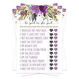 Purple Floral Bridal Shower Games (25 Pack) He Said She Said Cards - Bride or Groom Said It - Guess Who Knows Couple Best Guessing Activity - Wedding - Engagement Party - Rehearsal - Rustic