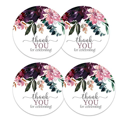 Shabby Floral Thank You Stickers (60 Pack) Bridal Shower Favors - Wedding - Baby Shower - Rustic Party Supplies - Round Multi-Use Labels - Pink, Purple, and Gold