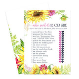 Sunflower Bridal Shower Games (25 Pack) He Said She Said Cards - Bride or Groom Said It - Guess Who Knows Couple Best Guessing Activity - Wedding - Engagement Party - Rustic Fall Flowers