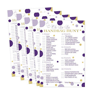 Purple and Gold Baby Shower Purse Game Pack (25 Cards) Bridal Shower Hunt - Girls Sprinkle Activity – Sea Mermaid Ideas - Royal Princess Party Supplies