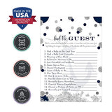 Nautical Baby Shower Game Pack (25 Cards) Find the Guest - Lets Mingle and Meet - Fun Conversation Starter - Oh Boy Whale Sprinkle Activity - Anhors Away - Navy and Grey