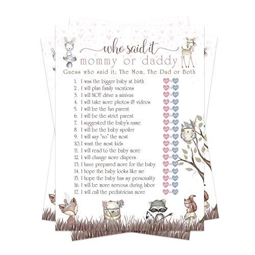 Woodland Friends Baby Shower Game Pack - Mommy or Daddy (25 Cards) – Guess Which Parent Said It – Girls Sprinkle Activity – Pink Rustic Floral – Cute Little Forest Animals