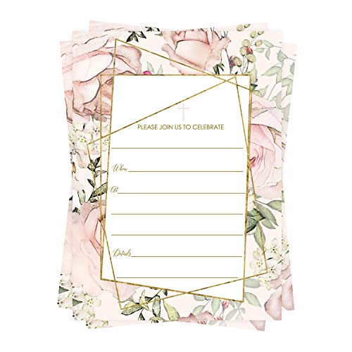 Pink Flowery Baptism Invitations (25 Cards) Fill in Details for Christening – Naming Ceremony – Dedication – Confirmation – Communion – Baby, Kids and Adults Celebration- Invite and Envelope Pack