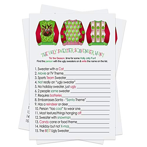 Ugly Sweater Party Game Pack (25 Cards) Scavenger Hunt – Festive Fun Guessing Activity for Guests - Christmas Holiday Events