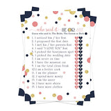 Navy and Coral Bridal Shower Games (25 Pack) He Said She Said Cards - Bride or Groom Said It - Guess Who Knows Couple Best Guessing Activity - Wedding - Engagement Party - Rehearsal - Mod Chic