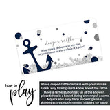 Ahoy Boy Diaper Raffle Ticket (25 Cards) Baby Shower Games – Invitation Inserts – Drawings for Sprinkle Activity – Anchors Away - Navy and White