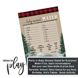 Lumberjack Baby Shower Animal Matching Game Pack (25 Cards) Fun Guess the Pair Activity - Sprinkle - Adults - Groups - Kids Birthday – Little Bear - Red and Black Plaid Party Supplies