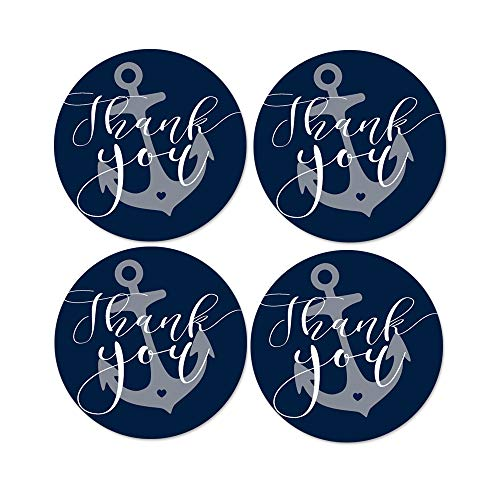Nautical Thank You Stickers (60 Pack) Boys Baby Shower Favors - Wedding Labels - Bridal Shower - Retirement - Anchors Away Party Supplies - Navy and White