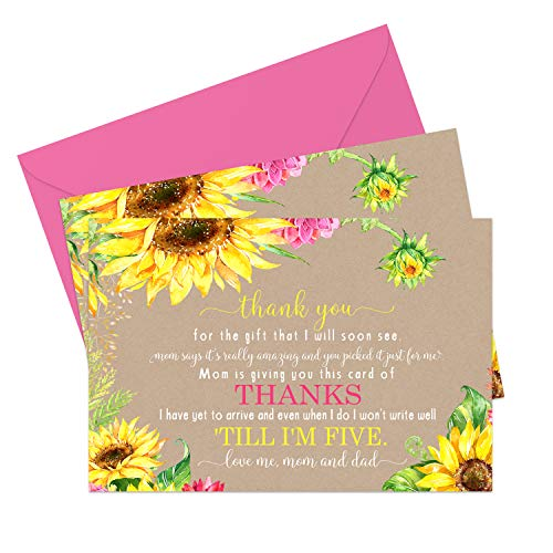 Sunflower Baby Shower Thank You Cards and Envelopes (15 Pack) Rustic Fall Flowers - Girl or Boy - Cute Babies Stationery Set - Yellow and Pink - A6 Flat Notecards
