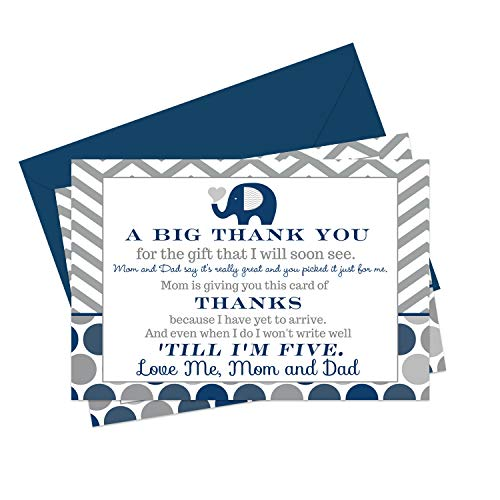 Navy Elephant Baby Shower Thank You Cards and Blue Envelopes (15 Pack) - Boys Cute Little Peanut Theme - Zoo Animals - A6 Flat Notecards - Babies Stationery Set