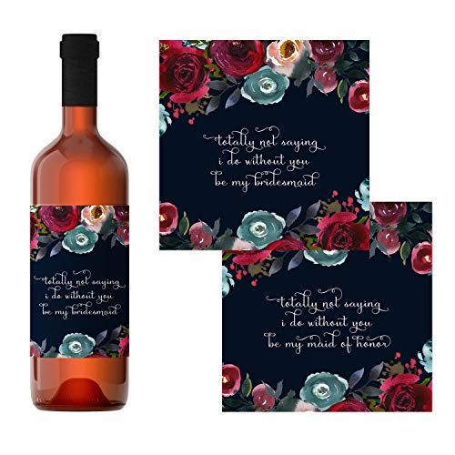 Navy Floral Be My Bridesmaid Wine Bottle Labels (7 Pack) Ways to Ask My Best Girls - Fun Proposal Maid of Honor Sticker - Wedding Party Gift Box Ideas - Rustic Wedding Party Ideas - Blush, Burgundy