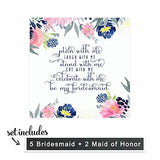 Bridesmaid Wine Bottle Labels (7 Pack) Ways to Ask My Best Girls - Fun Proposal Maid of Honor Sticker - Wedding Party Gift Box Ideas Blush and Navy - Rustic Floral