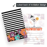 Halloween Cocktail Invitations (15 Cards) Eat, Drink, Be Spooky Party Supplies – Adults Hallows Eve Events – Gothic Style – Blank Fill in Invite Card and Envelopes Pack