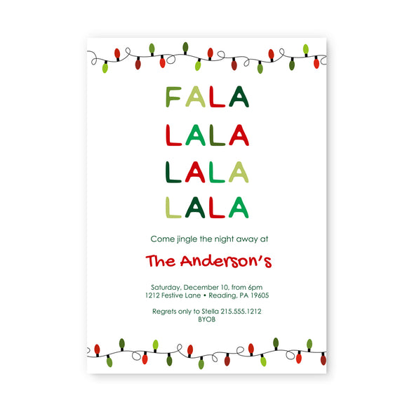 Fa La La La La Christmas Party Invitations and Envelope Set