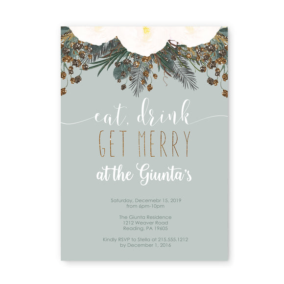 Winter Floral Christmas Party Invitations and Envelope Set