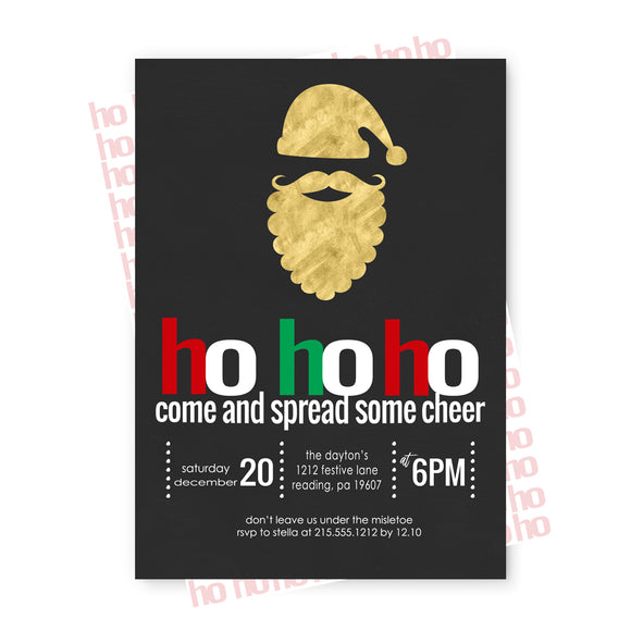 Ho Ho Ho Christmas Party Invitations and Envelope Set