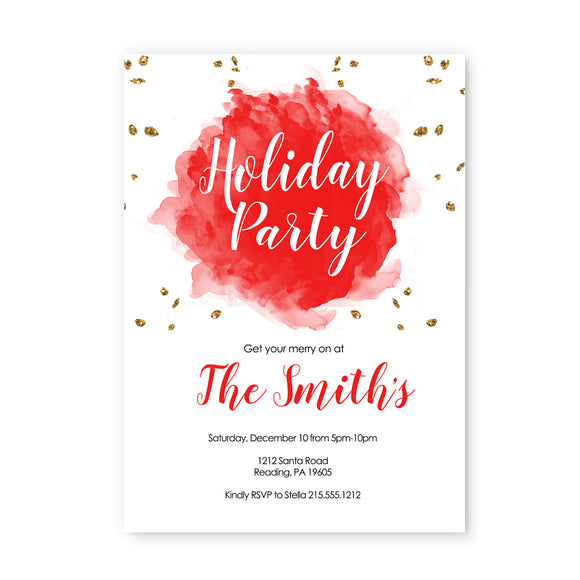 Abstract Watercolor Christmas Party Invitations and Envelope Set