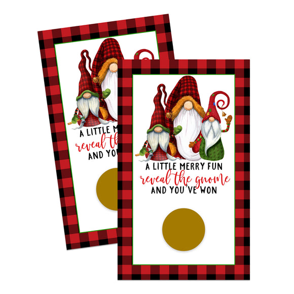 Jolly Gnome Scratch Off Cards (30 Pack) Christmas Party Game - Holiday Prize Drawings - Lumberjack Red and Green