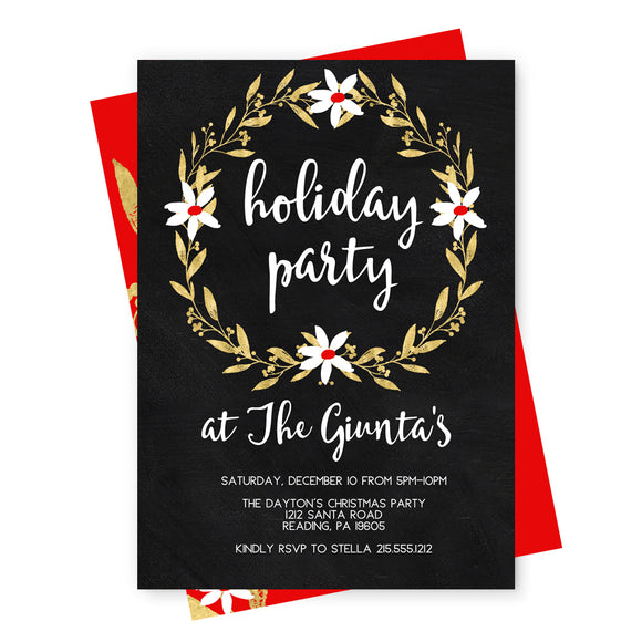 Chalked Floral Holiday Party Invitations and Envelope Set - Red and Gold