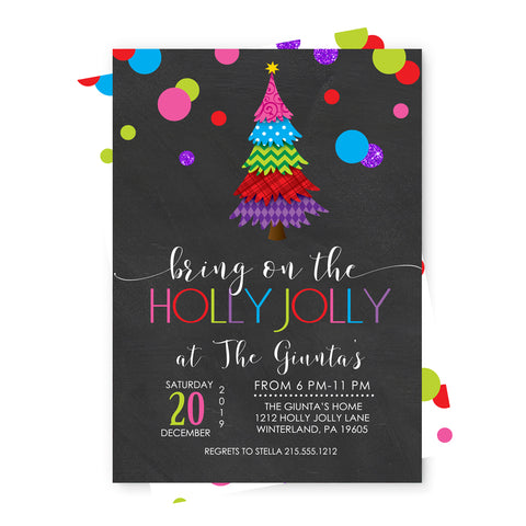 Retro Holly Christmas Party Invitations