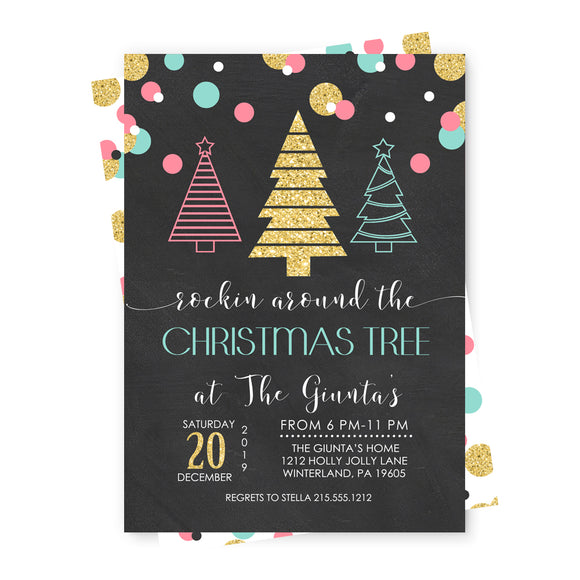 Rockin Around Christmas Party Invitations and Envelope Set - Pink, Mint and Gold