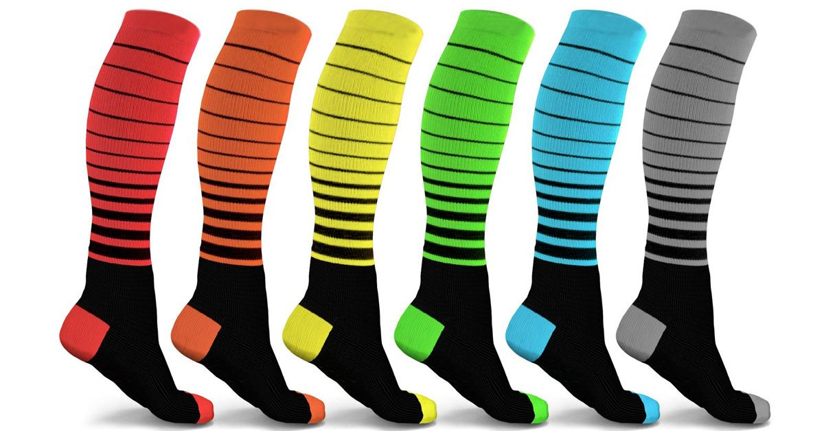 Unisex Striped Compression Socks (6-Pack)