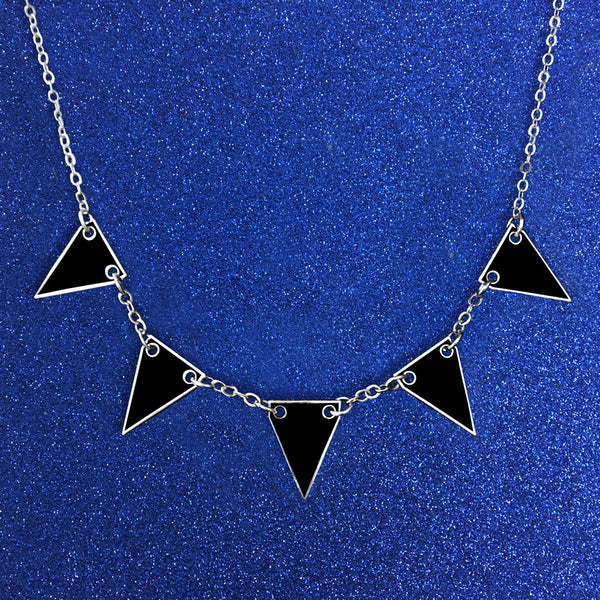 Bunting Enamel Necklace- All Black