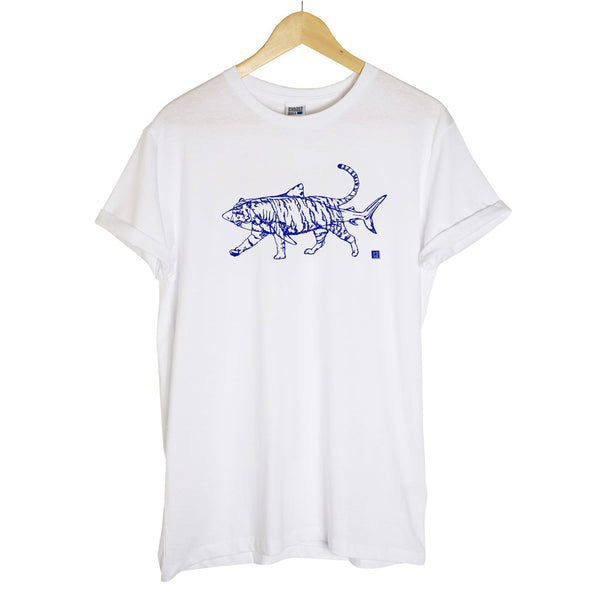Fluorescent Blue and Pink Tiger Shark on Unisex Navy Blue T-shirt