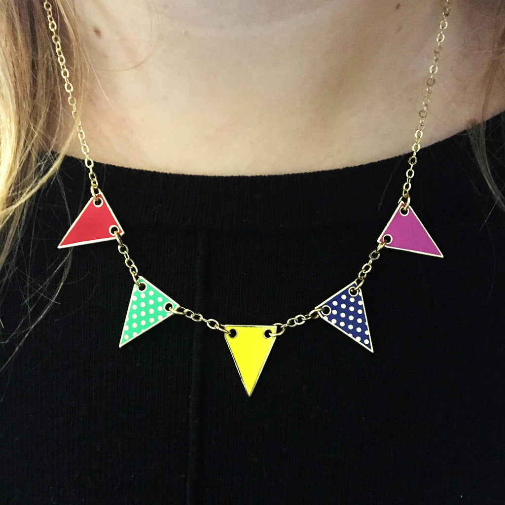 Bunting Enamel Necklace- Bright Colours