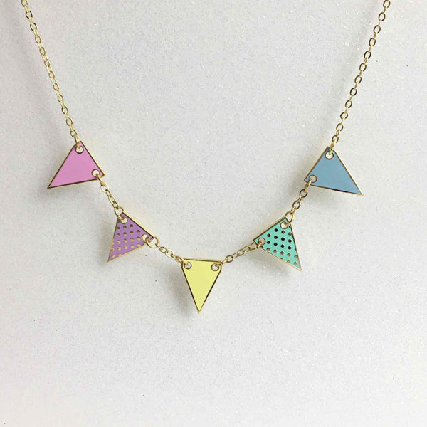 Bunting Enamel Necklace- Pastel Colours