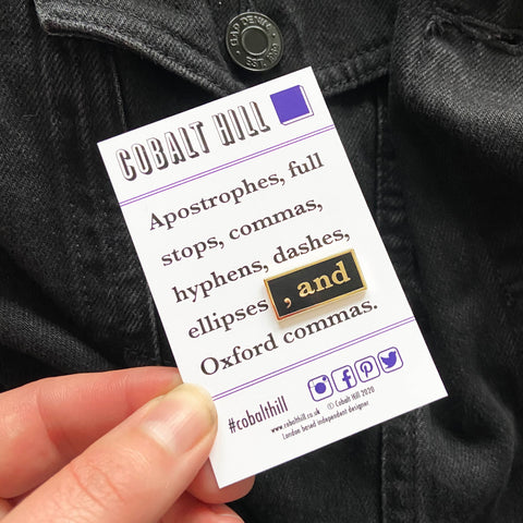 Oxford Comma Enamel Pin