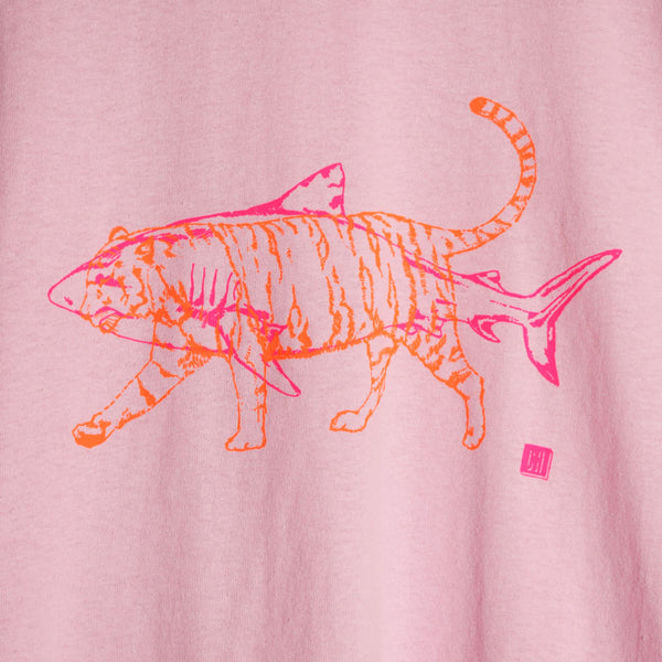 Fluorescent Orange and Pink Tiger Shark on Unisex Yellow T-shirt