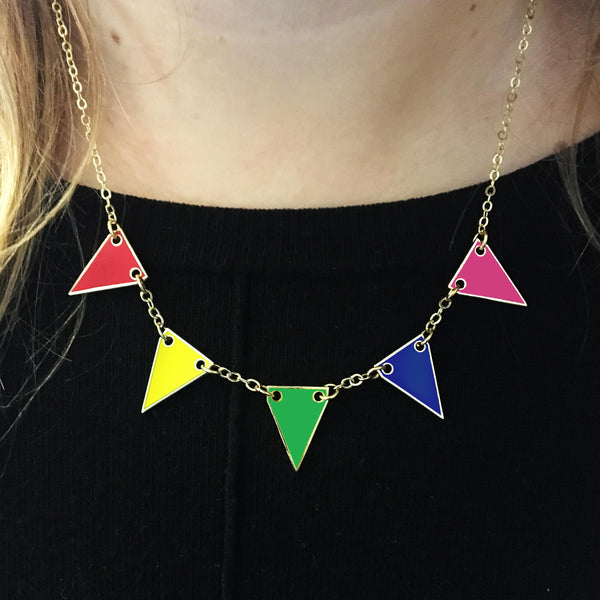 Rainbow Bunting Enamel Necklace