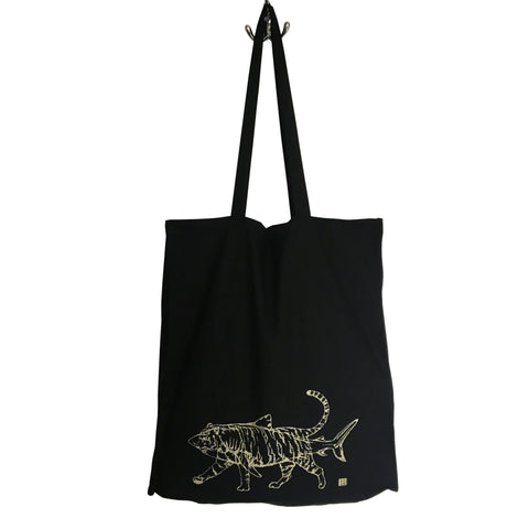 Tiger Shark Tote Bag- gold print on black bag