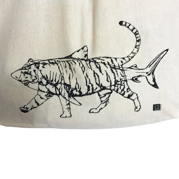 Tiger Shark Tote Bag- black print on natural cotton