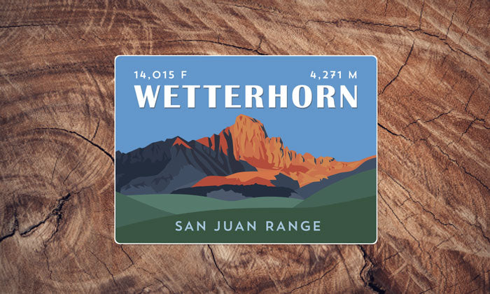 Wetterhorn Peak Colorado 14er Sticker