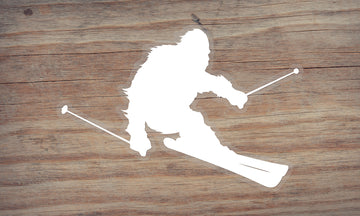 Sasquatch Skiing Die Cut Sticker