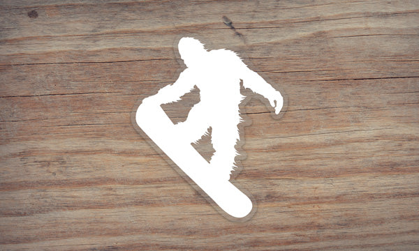 Sasquatch Snowboarding Die Cut Sticker