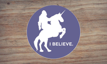 Sasquatch Riding a Unicorn Sticker