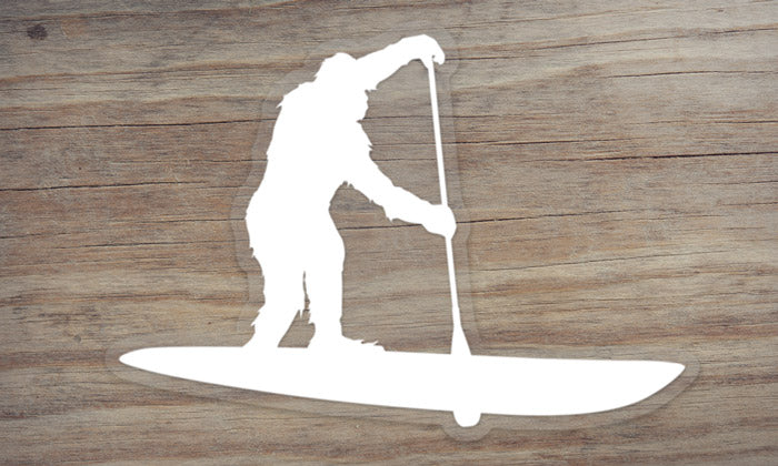 Sasquatch Stand Up Paddleboarding Die Cut Sticker
