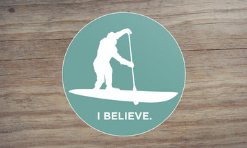 Sasquatch Stand Up Paddleboarding Sticker